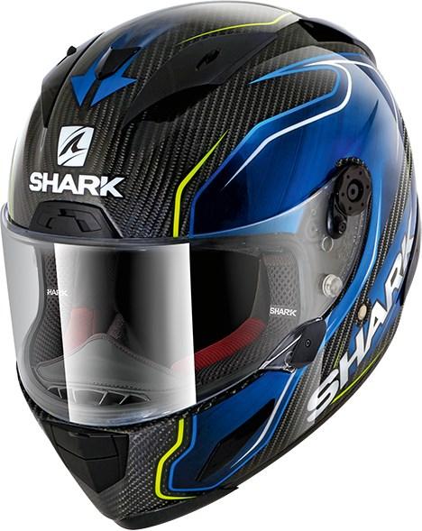 SHARK RACE-R Pro Carbon Replica Guintoli Carbon-Blauw-Geel DBY