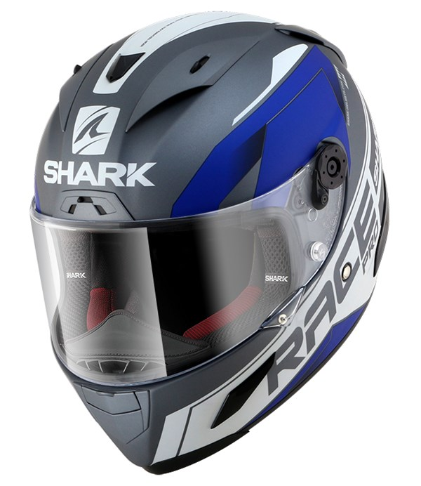 SHARK RACE-R Pro Sauer Mat Antraciet-Wit-Blauw AWB