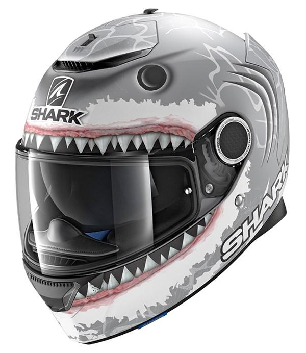 SHARK Spartan Replica Lorenzo White Shark Mat Zilver-Wit-Antraciet SWA
