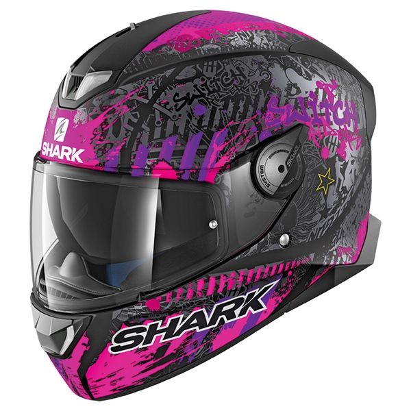 SHARK Skwal 2 Rep. Switch Riders 2 Lady Mat Zwart-Paars-Paars KVV White led
