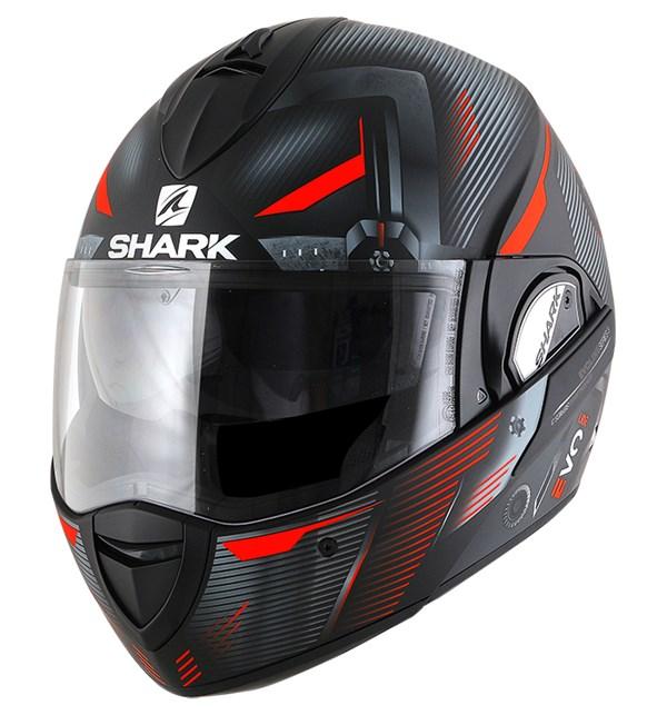 SHARK Evoline 3 Shazer Mat Zwart-Rood-Zilver KRS