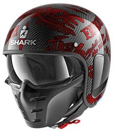 SHARK S-Drak Carbon Freestyle Cup Carbon-Rood-Rood DRR