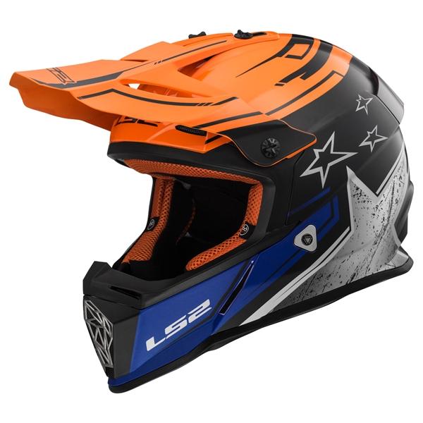 LS2 MX437 Fast Core Mat Zwart-Oranje-Blauw