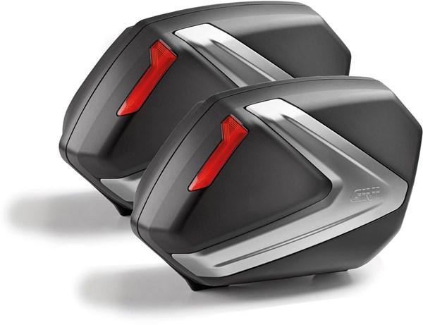 GIVI V37 zijkoffers rode reflectoren, zwarte cover
