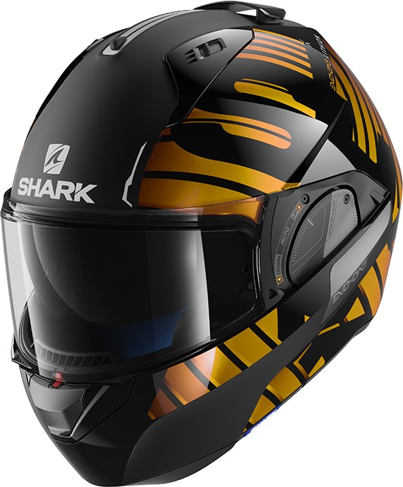 SHARK Evo-One 2 Lithion Dual Zwart-Chroom-Goud KUQ