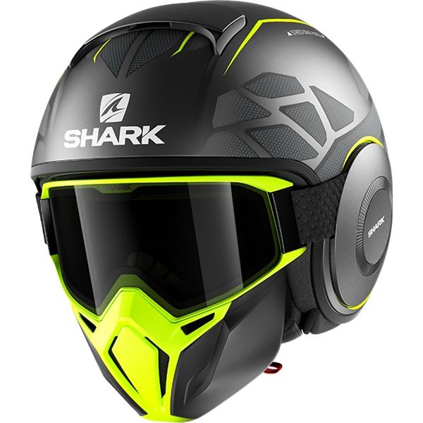 SHARK Street-Drak Hurok Mat Antraciet-Geel-Zwart AYK