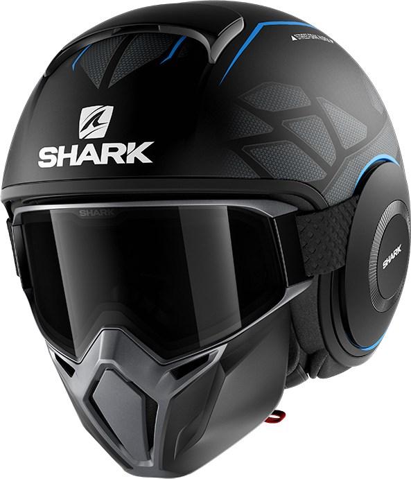 SHARK Street-Drak Hurok Mat Zwart-Blauw-Zwart KBK
