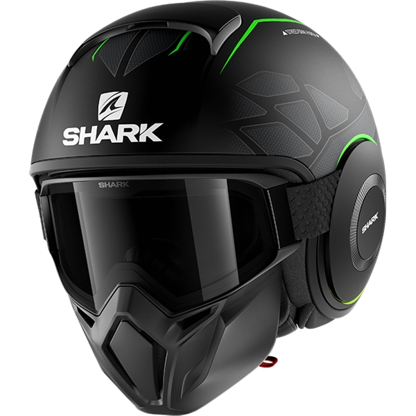 SHARK Street-Drak Hurok Mat Zwart-Groen-Zwart KGK