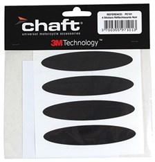 CHAFT Reflecterende helmstickers 4 stuks - Zwart