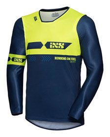 IXS MX jersey 2.0 Slim Blauw - Fluogeel