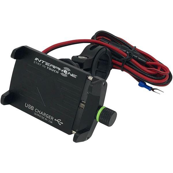 INTERPHONE Support smartphone Aluminium crab USB moto