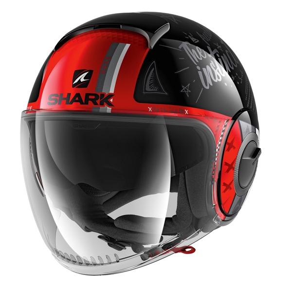 SHARK Nano Tribute RM Zwart-Wit-Rood KWR