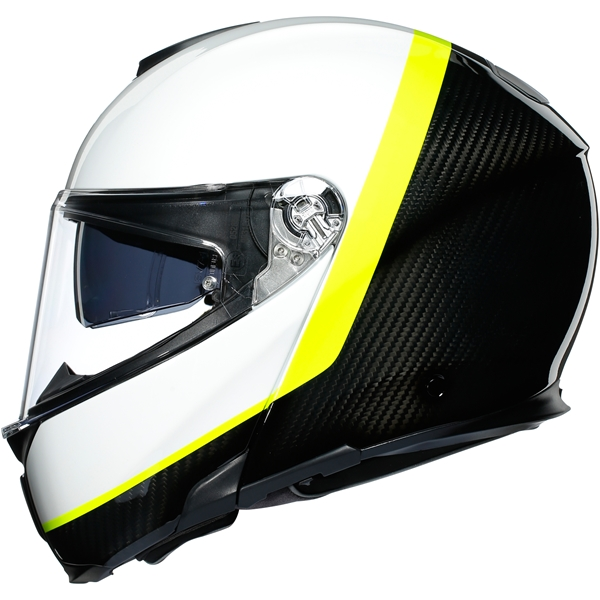 AGV Sportmodular Ray Carbon-Wit-Geel Fluo
