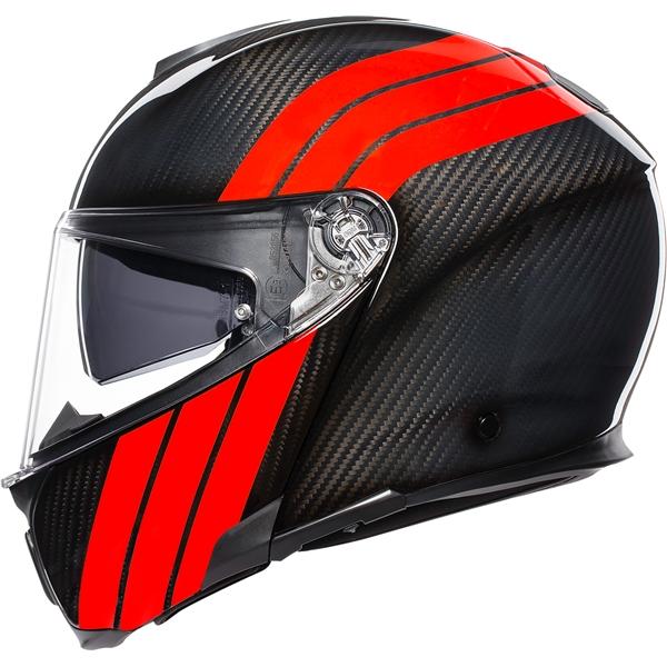 AGV Sportmodular Stripes Carbon-Rouge