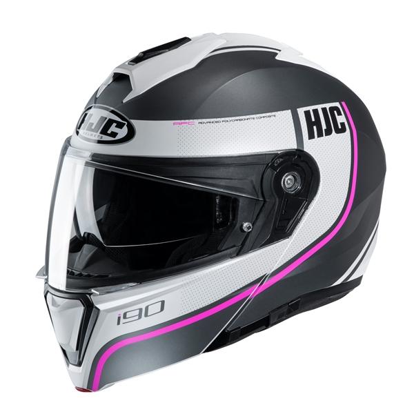HJC I90 Davan Mat Noir - Blanc - Rose