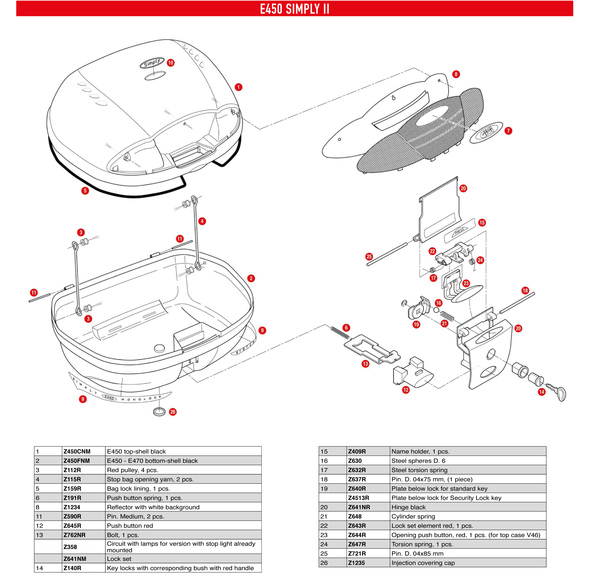 GIVI E450 Simply II top case reflecteurs rouges, cache noir.  ExplodedSparePartsView 30ff95024d09